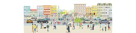 stadtsilhouette mit strassenverkehr und menschen auf