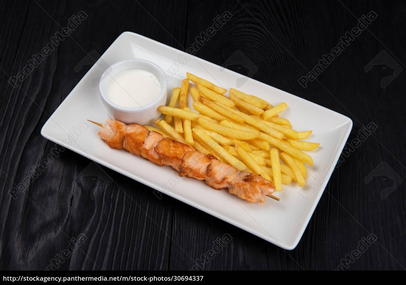 grilled, salmon, fish, shashlik - 30694337