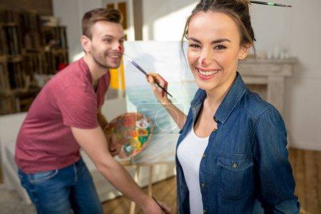 horizontale malerei halten kunst jung menschen