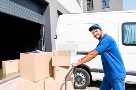 blau, glücklich, Einkaufswagen, Person, Jung, Menschen - B164829544