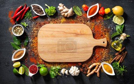 Tisch, Hintergrund, farbenfroh, Kräuter, Blatt, Ingwer - B377036062