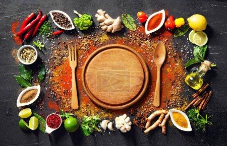 Tisch, Hintergrund, farbenfroh, Kräuter, Blatt, Ingwer - B377035966