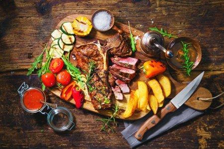 Tisch, frisch, Kräuter, Rindfleisch, Fleisch, Messer - B369698390