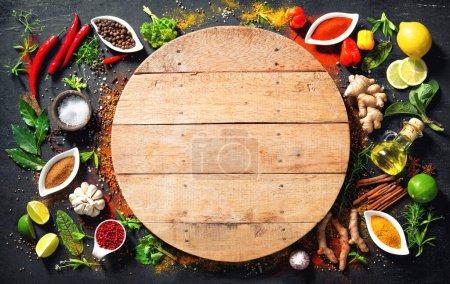 Tisch, Hintergrund, farbenfroh, Kräuter, Blatt, Ingwer - B377036162