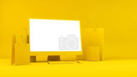 gelb, Computer, Einkaufen, Papier, Tasche, Feld - B372522192