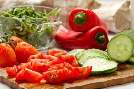 Vorstand, Schnitt, Salat, Gemüse, Holz, Zutaten - B9654750