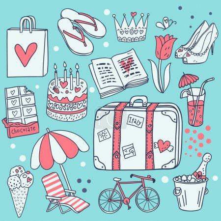 blau objekt illustration eingestellt papier tasche