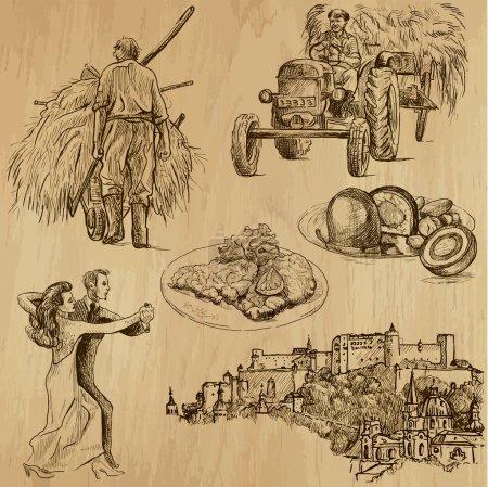 Hintergrund, Illustration, Design, eingestellt, Kunst, Reise - B33925649