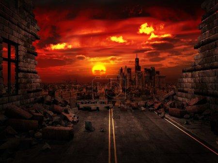 rot, Hintergrund, auf, Ansicht, Illustration, Sonnenuntergang - B27292737