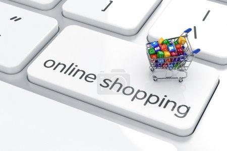 computer hintergrund einkaufen schluessel konsumdenken isoliert