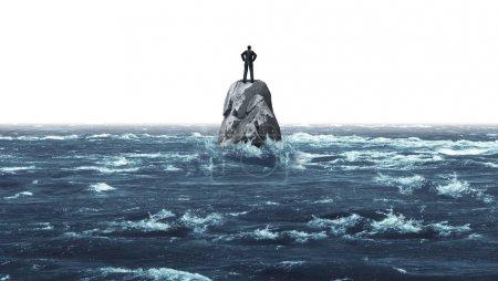 Single, Meer, Geschäftsmann, Einfamilienhaus, Ozean, Strategie - B274243128