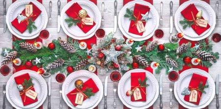 Tisch, rot, eingestellt, Feier, Weihnachten, Dekoration - B404196834