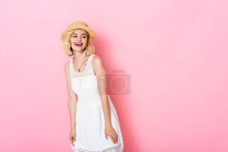 weiß, Hintergrund, Schön, Glücklich, Lächelnd, Sommer - B396229190