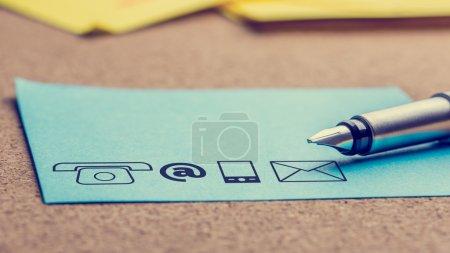 Tisch, blau, auf, Papier, Unternehmen, Kunde - B67827883