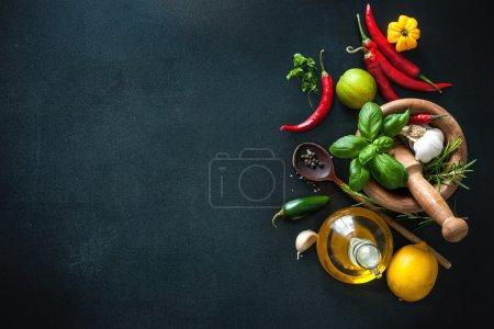 Tisch, Hintergrund, horizontale, Nahaufnahme, frisch, Blätter - B121719568