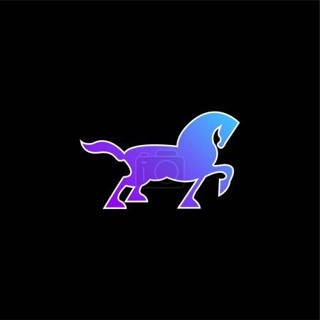 Blau, Vektor, Tier, schwarz, Silhouette, Gehen - B470982044