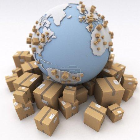 Feld, Paket, Unternehmen, Umwelt, Verkehr, Karton - B65907141