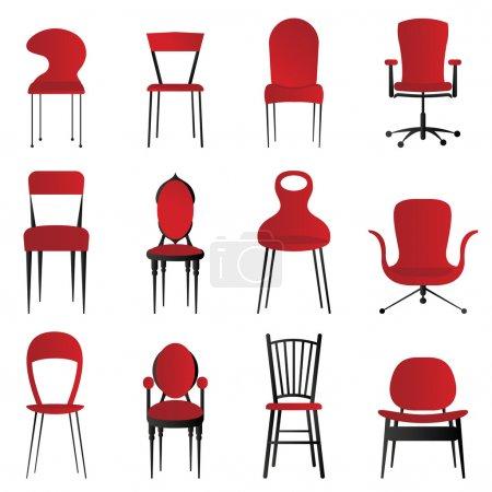 rot, gruppe, Stühle, Vektor, hintergrund, einwendungen machen - B7514202